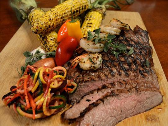 Grilled Flank Steak With Naked Shrimp & Charred Corn Salad